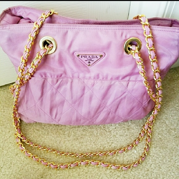 a4932e849aea Authentic Prada Quilted Nylon Leather Chain Tote